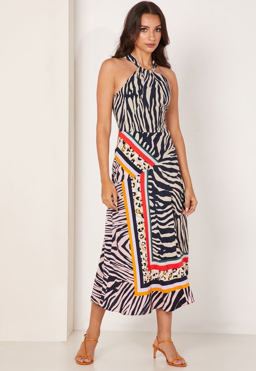 Animal Print Stripe Detail Dress