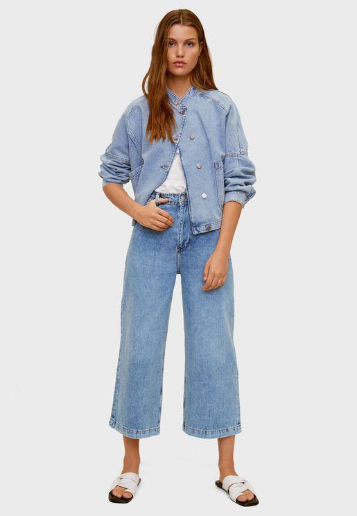 جينز بأرجل واسعة وخصر عالي