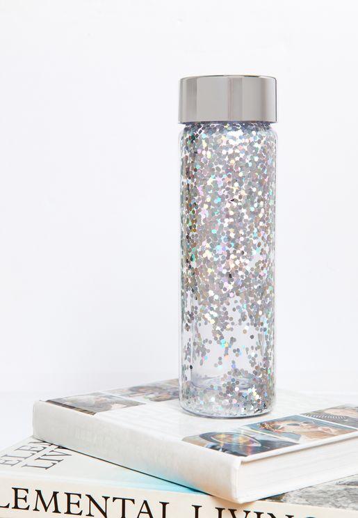 Silver Glitter Water Bottle
