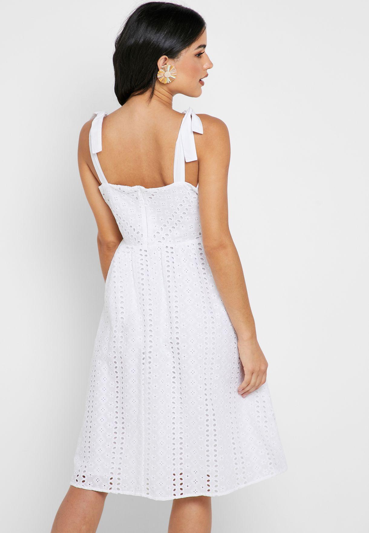 Tie Shoulder Broderie Dress