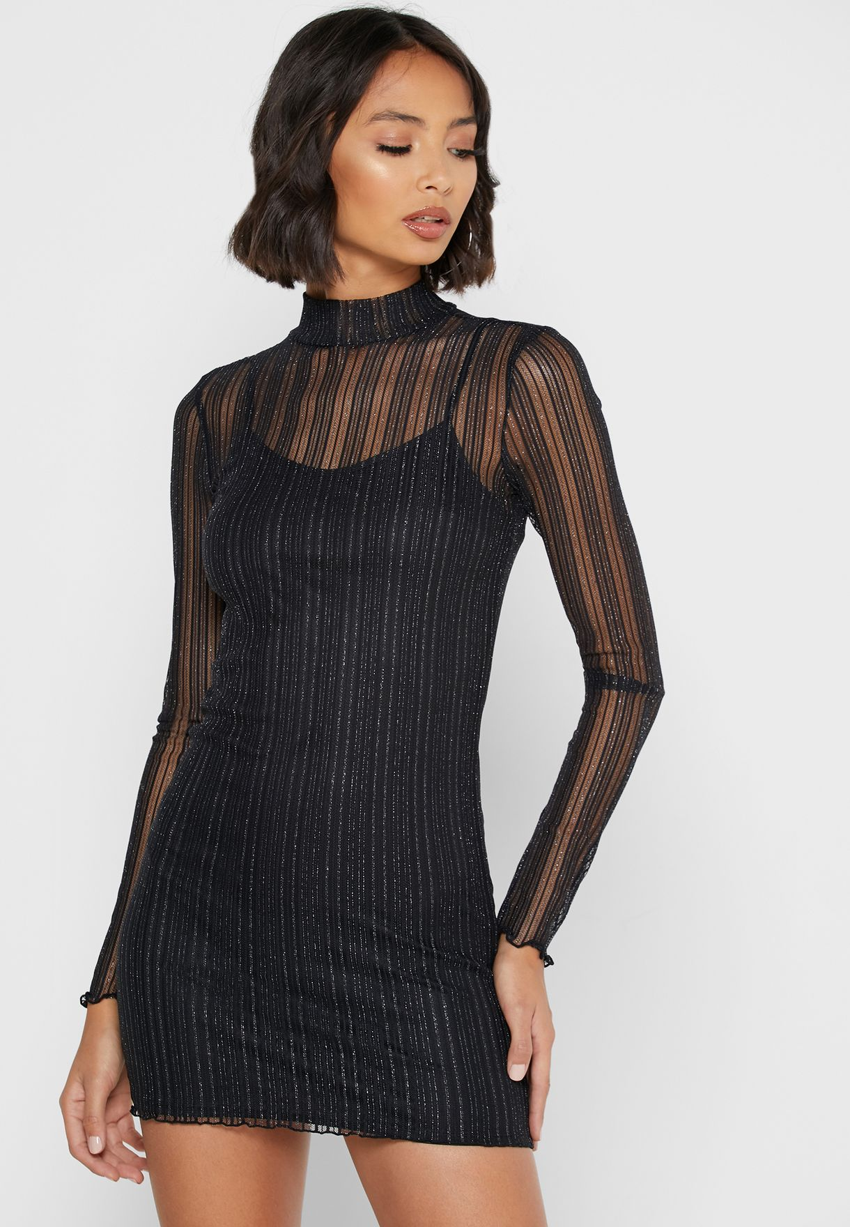 Mock Neck Sheer Detail Dress