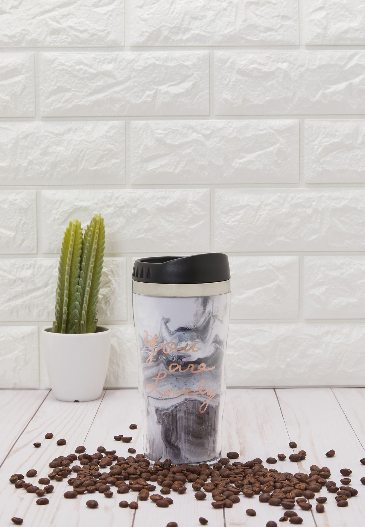 Insulated Marble Print Travel Mug