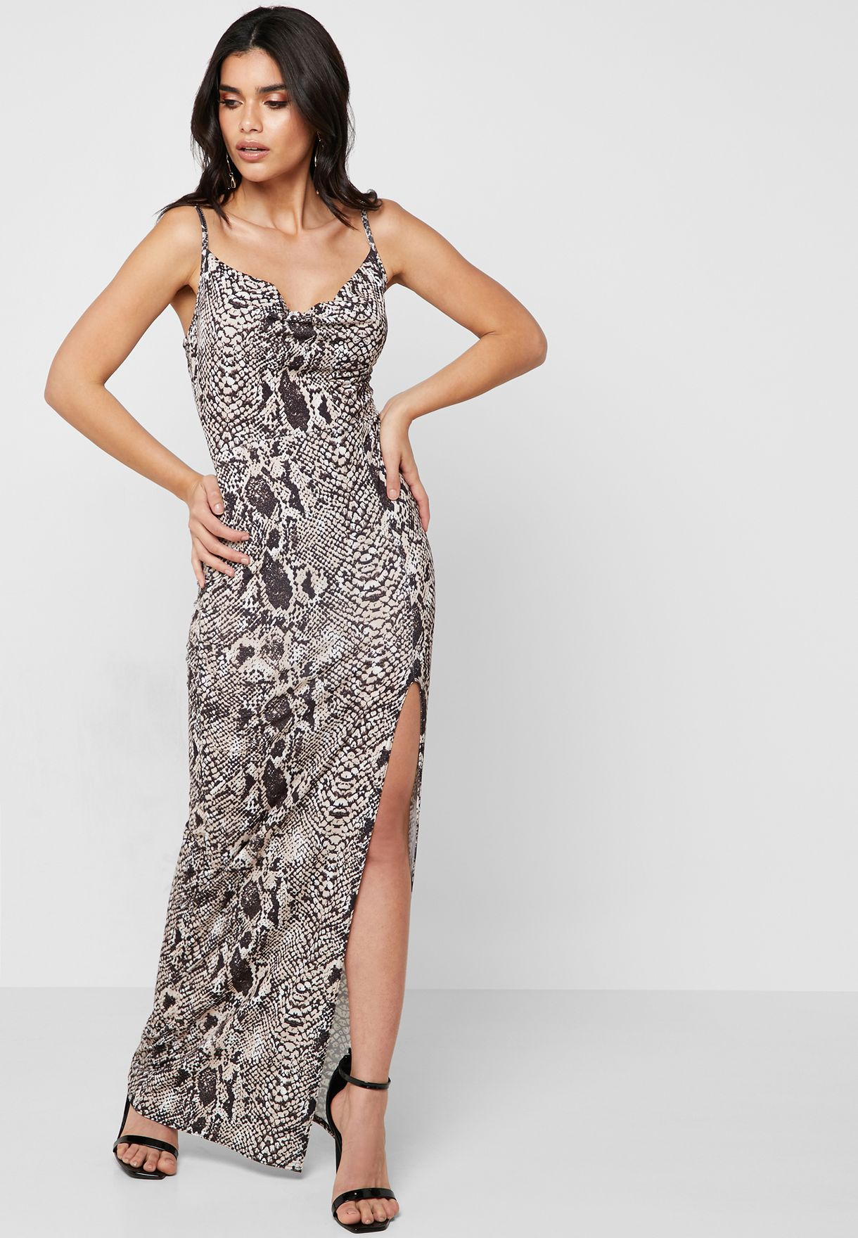 Front Split Snake Print Bodycon Dress