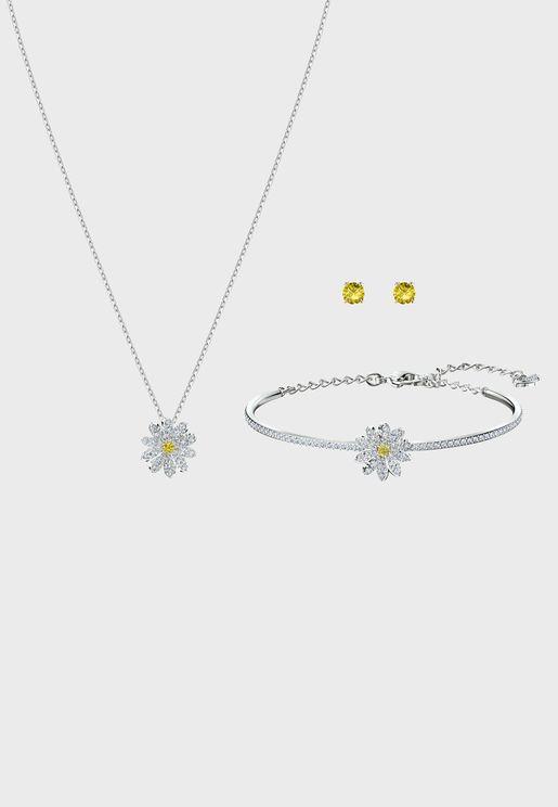 Eternal Flower Pendant Necklace+Earrings+Bracelet