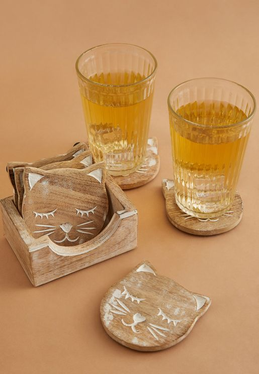 Set Of 6 Carved Cat Coaster