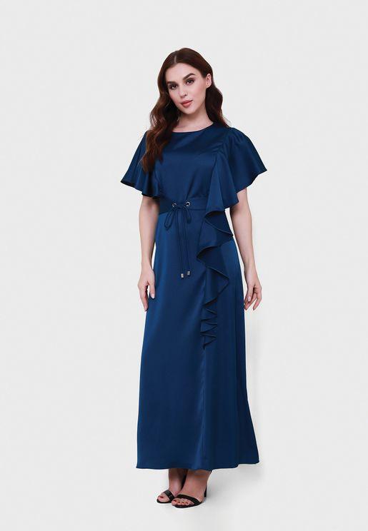 فستان باكمام كيب منسدلة