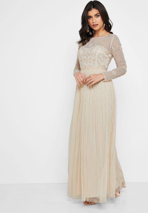 Embellished Mesh Top Maxi Dress