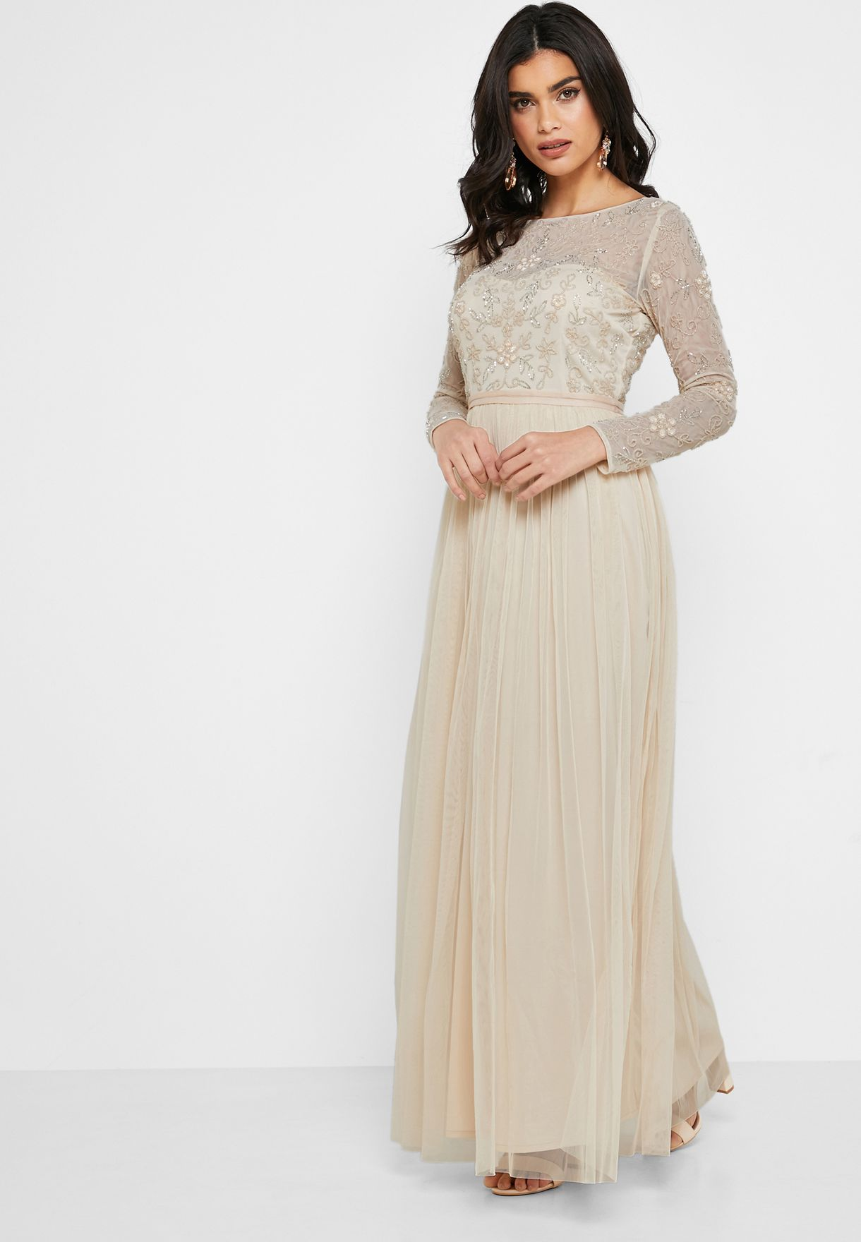 Embellished Mesh Top Maxi Dress