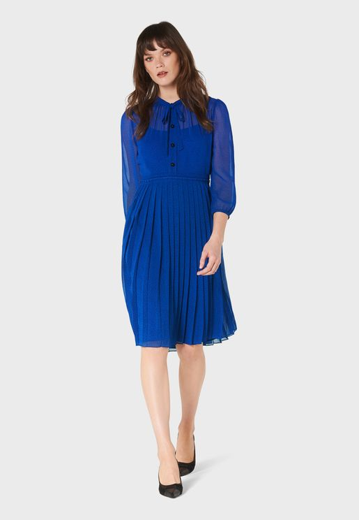 Dr Marlow Button Front Sheer Sleeve Skater Dress