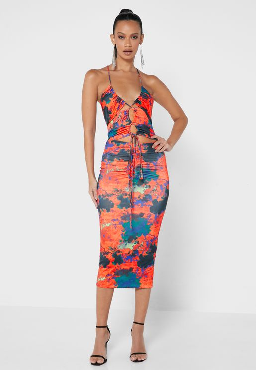 Cut Out Printed Dress