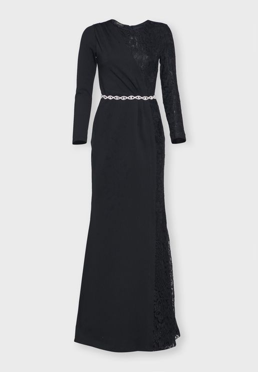 Half & Half Lace Maxi Dress