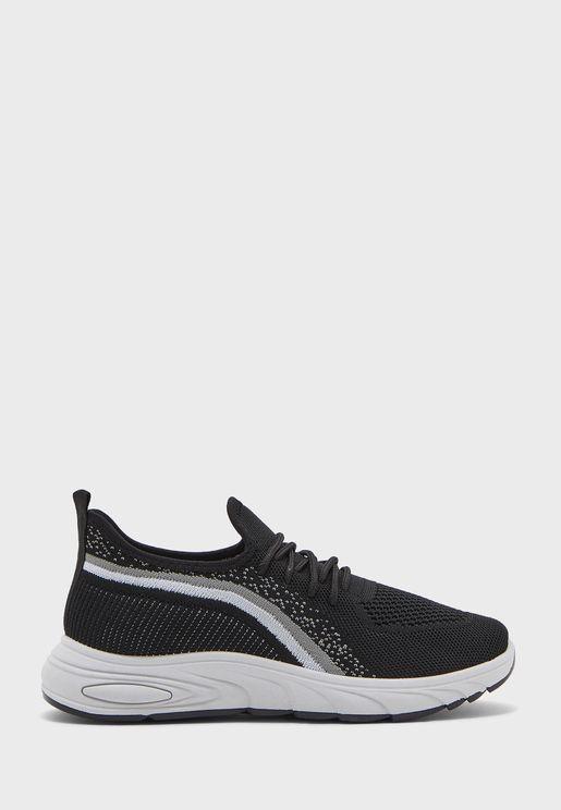 Curve Stripe Lace Up Sneaker