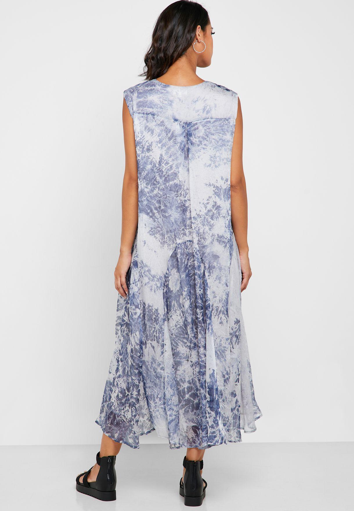 Tie Dye Plunge Dress