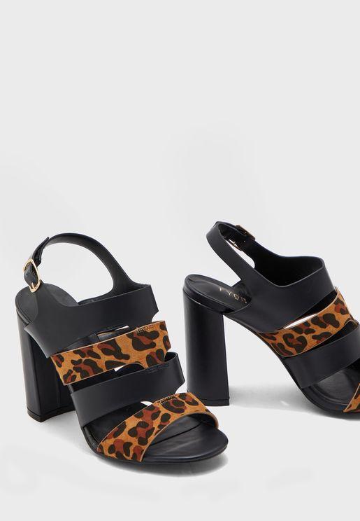 Leopard Detail Slingback Sandals