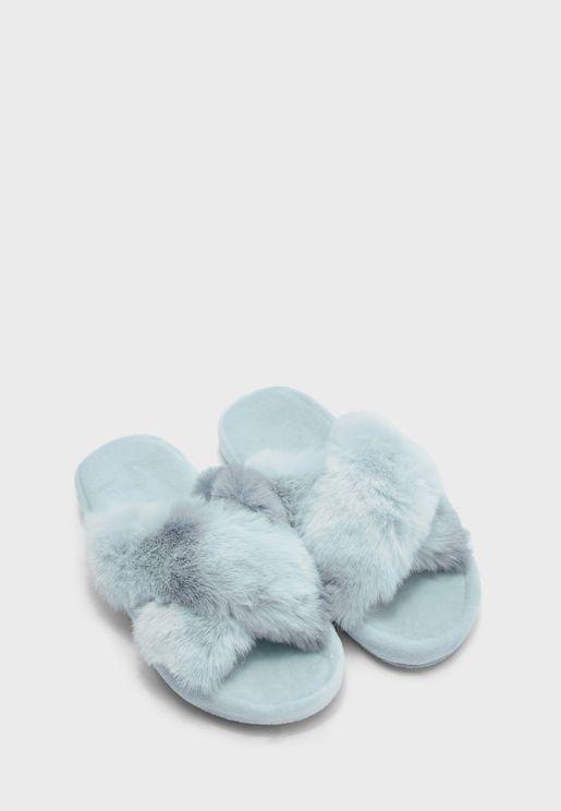 Faux Fur Cross Chunky Slider