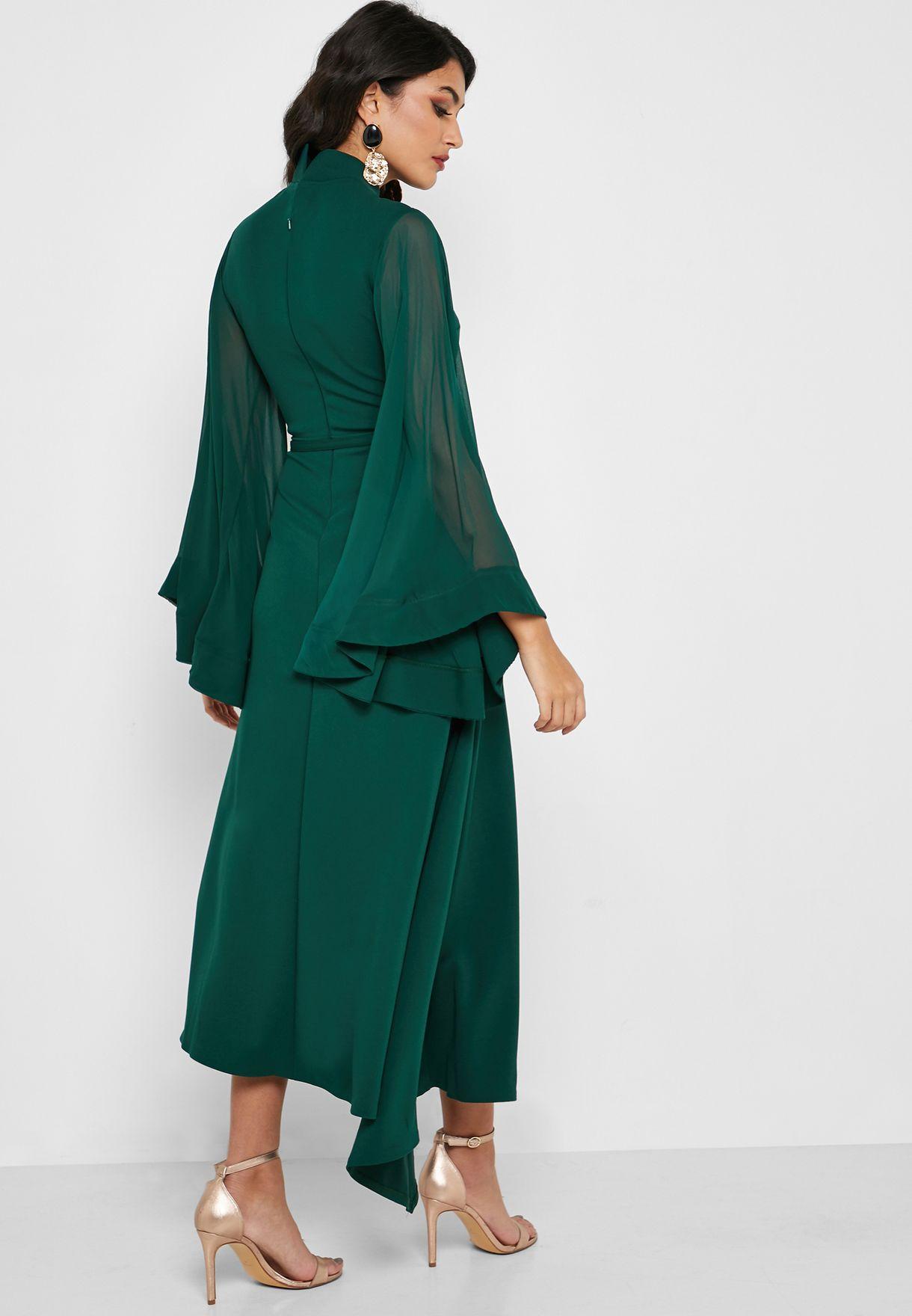 فستان بأكمام واسعة شفافة مع اربطة