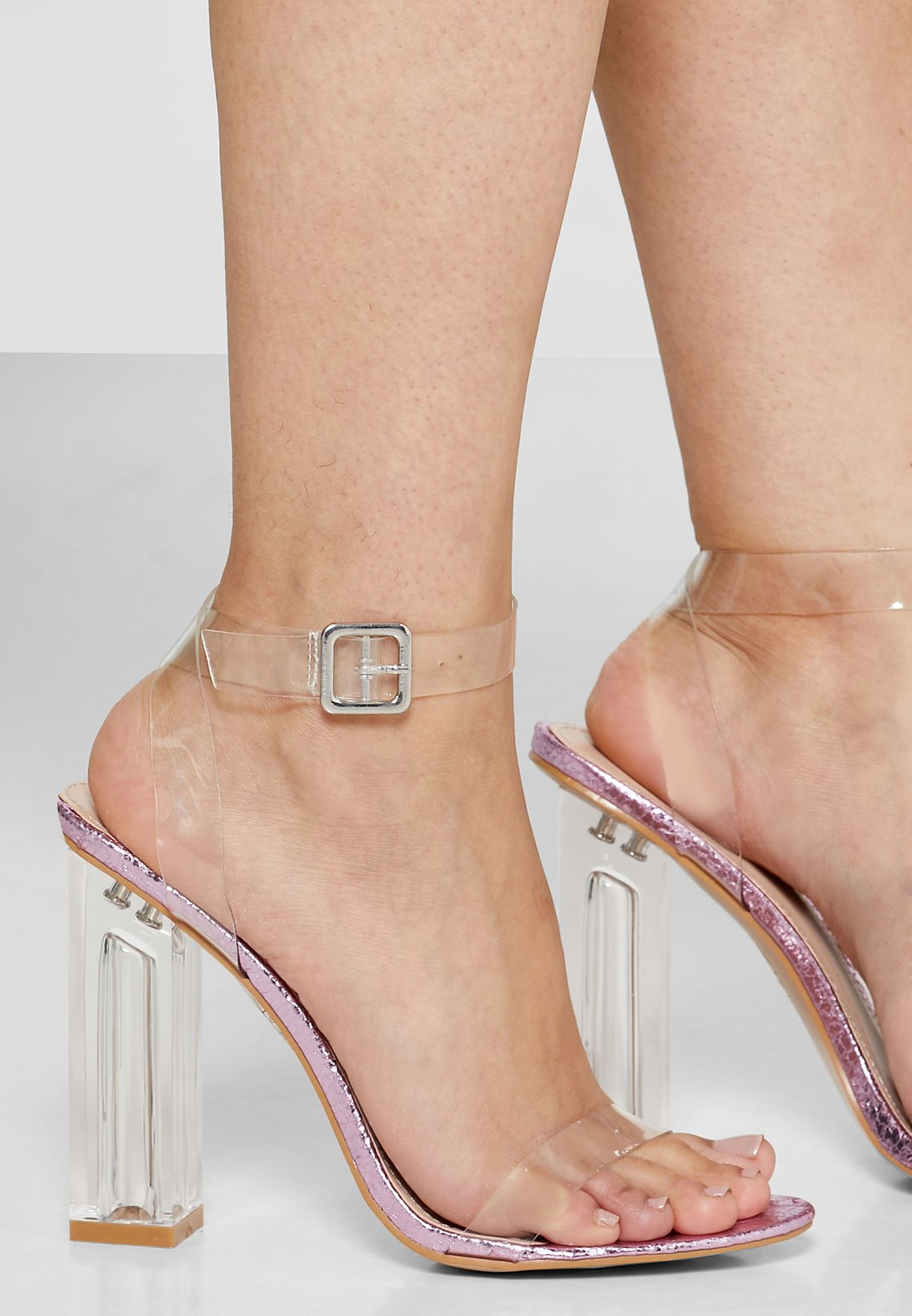 Clear Strappy Heel Sandals