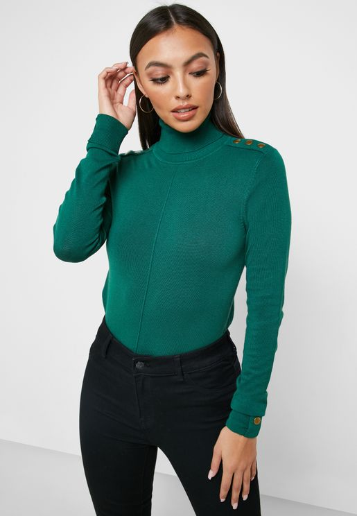 Stud Shoulder Detail High Neck Sweater