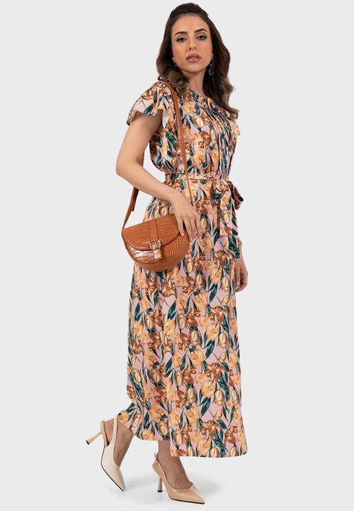 Self Tie Floral Print Dress