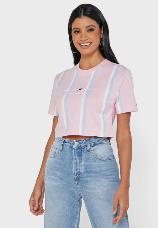 Logo Striped Crop T-Shirt