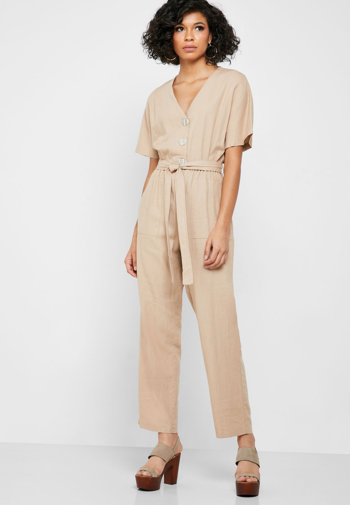 Tie Waist Button Down Jumpsuit