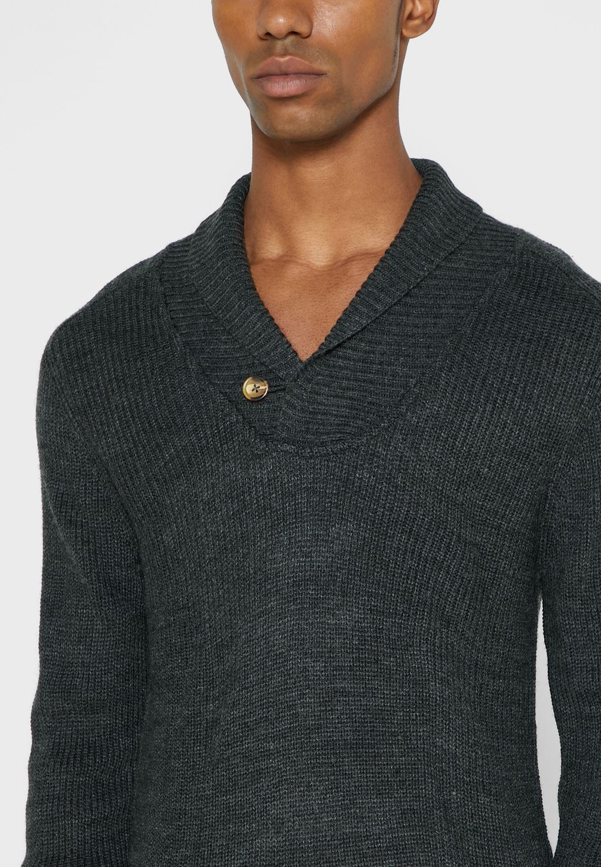 Shawl Neck Rib Knit