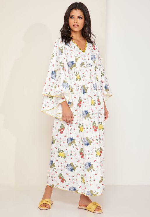 Mina Wide Sleeve Floral Print Kaftan