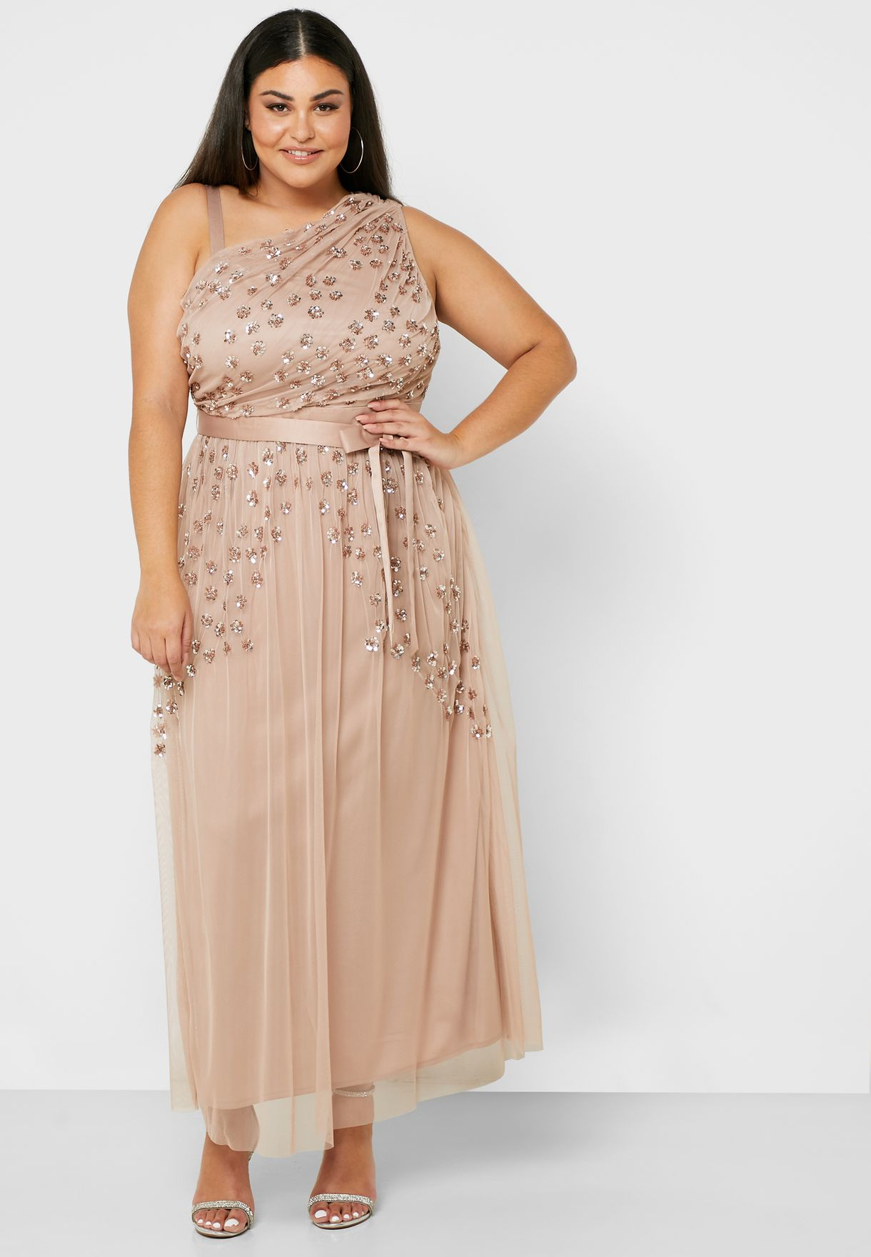 One Shoulder Sequin Pleated Dress