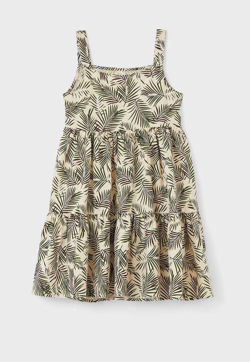 Kids Leaf Print Dress