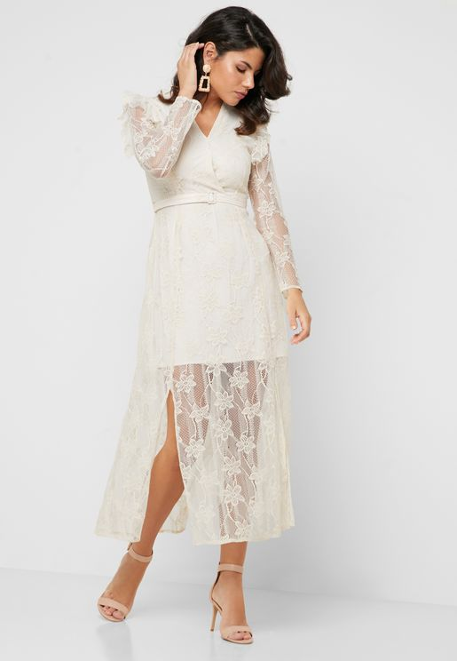 Belted Lace Midi Dress