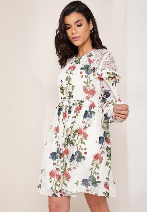 Oracle Floral Print Layered Ruffle Detail Dress