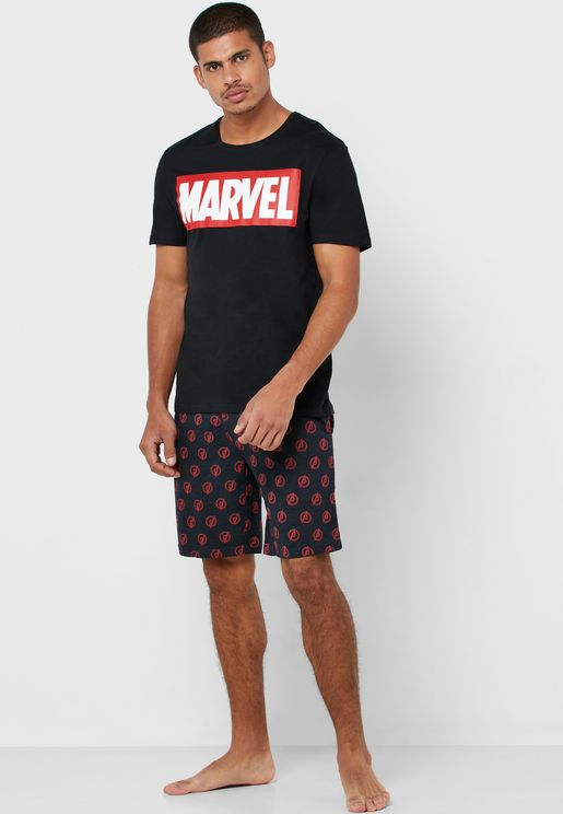 Marvel Print T-Shirt & Shorts Pyjama Set