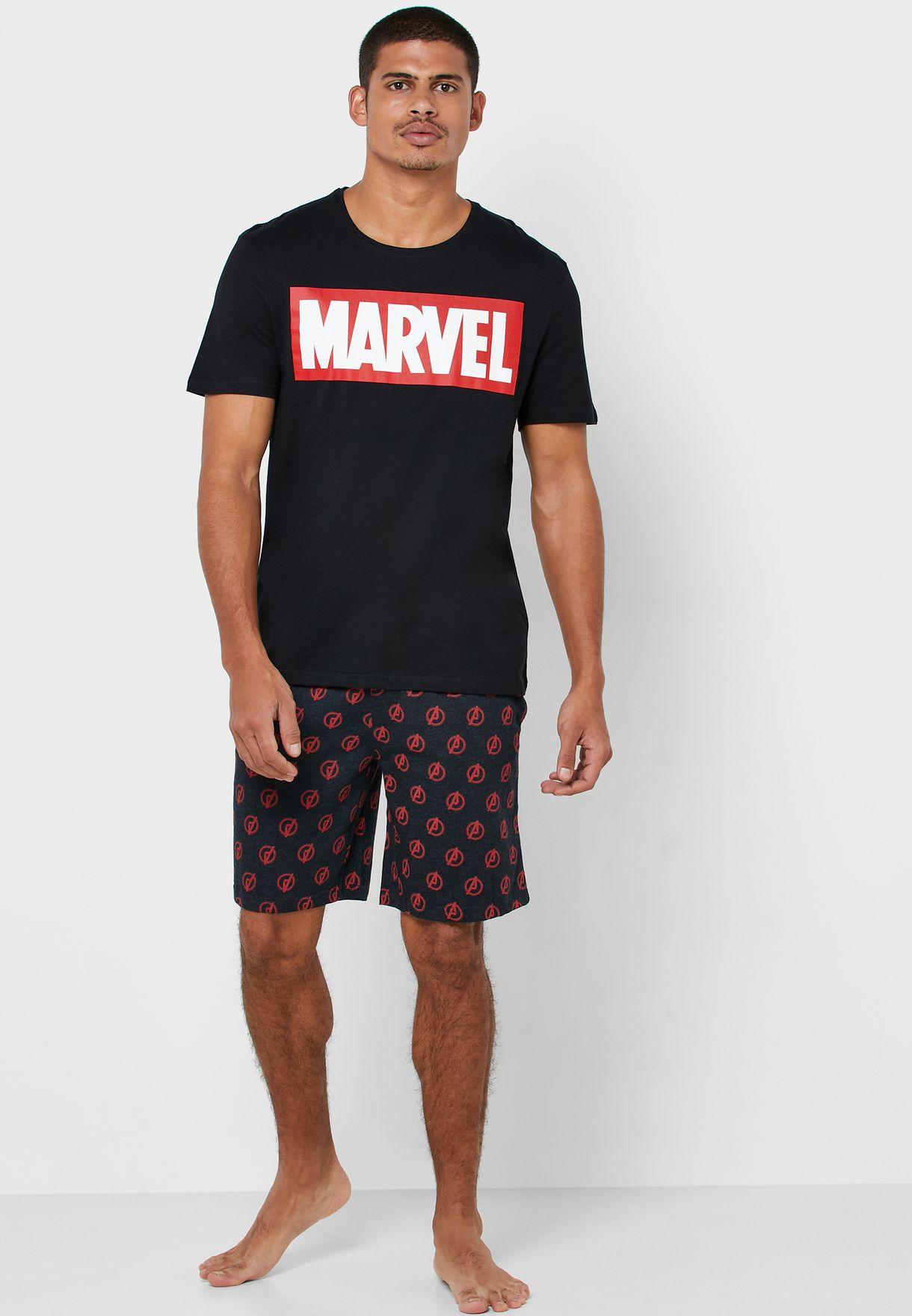 Marvel Print T-Shirt & Shorts Pyjama Set