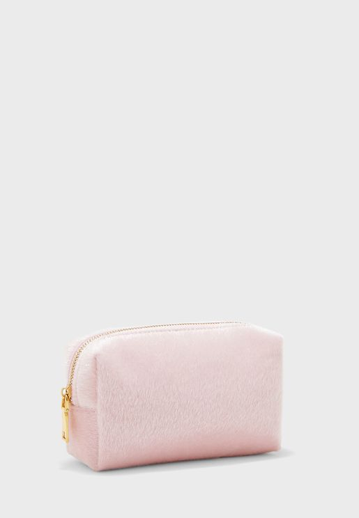 Pink Faux Pony Cosmetic Bag