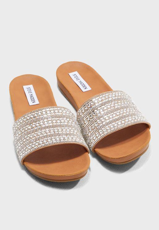 08674e969a8 Dazzle Flat Sandal - Stone. Steve Madden