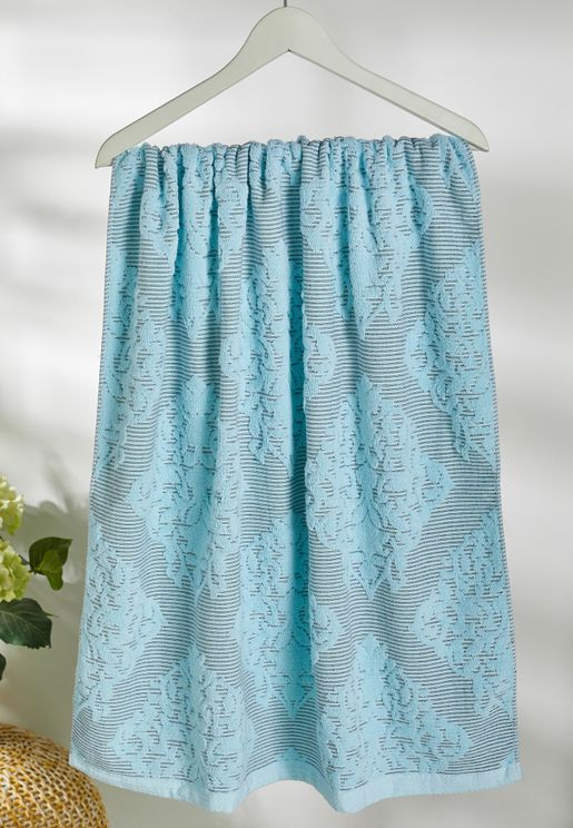 Blue Patterned Bath Towel