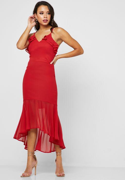 Ruffle Detail Zip Back  Dress