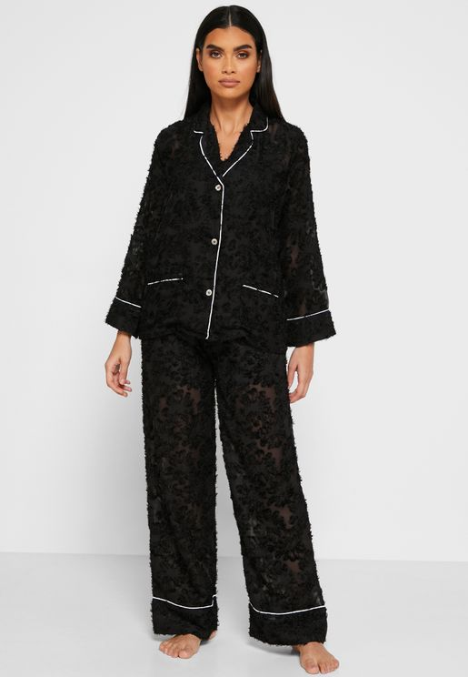 Sheer Lace Shirt Pyjama Set