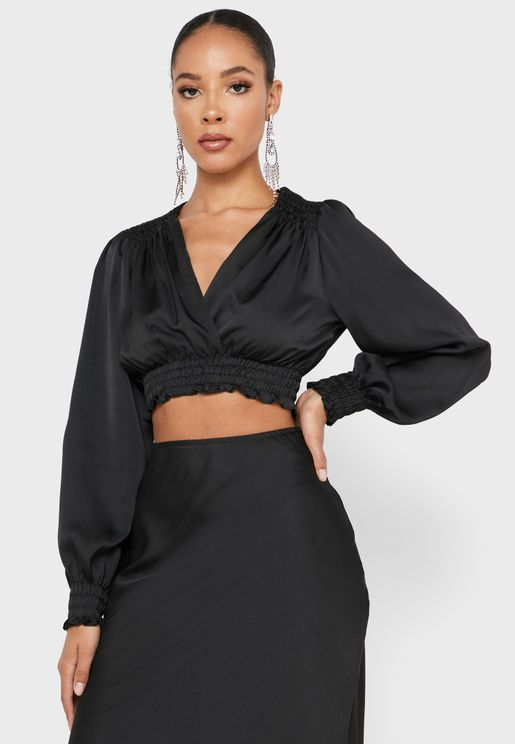 Shirred Waist Wrap Crop Top