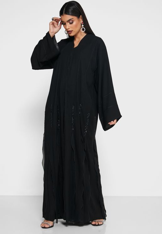 Pleated Detail Sequined Abaya