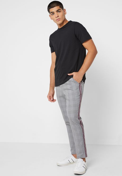 Side Stripe Checked Trousers