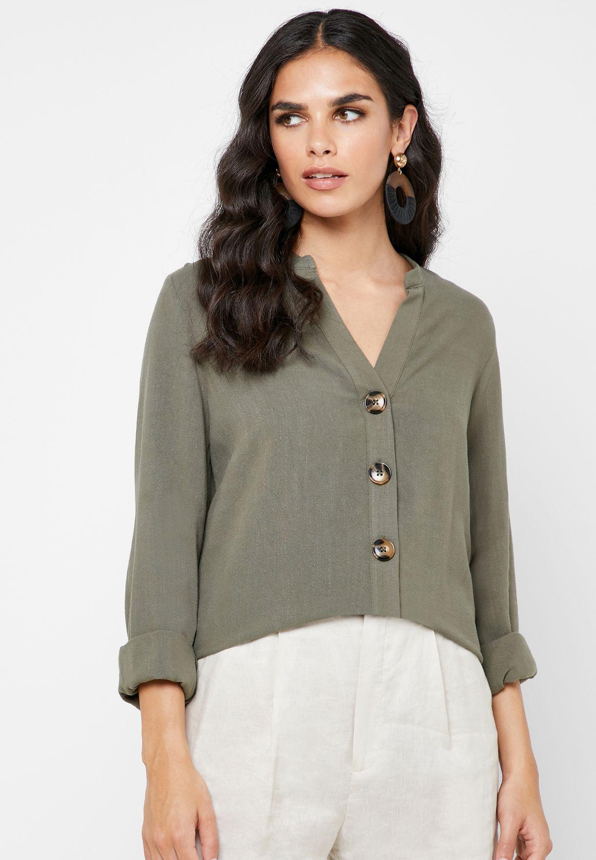 Button Detail High Low Shirt