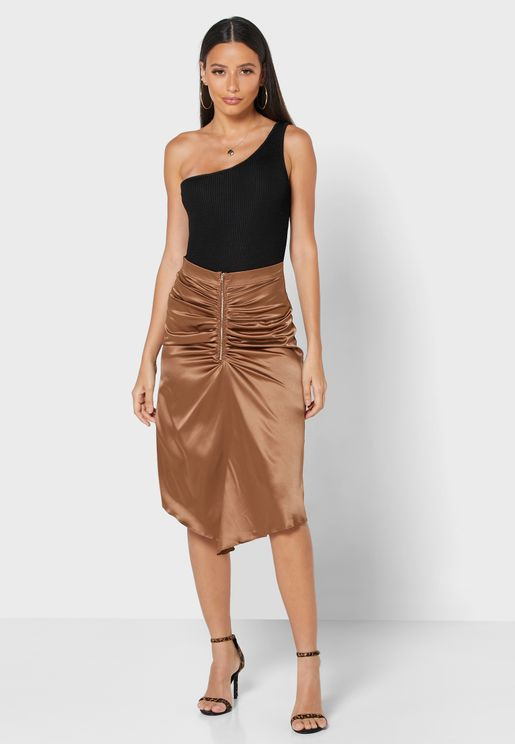Ruched Front Midi Skirt