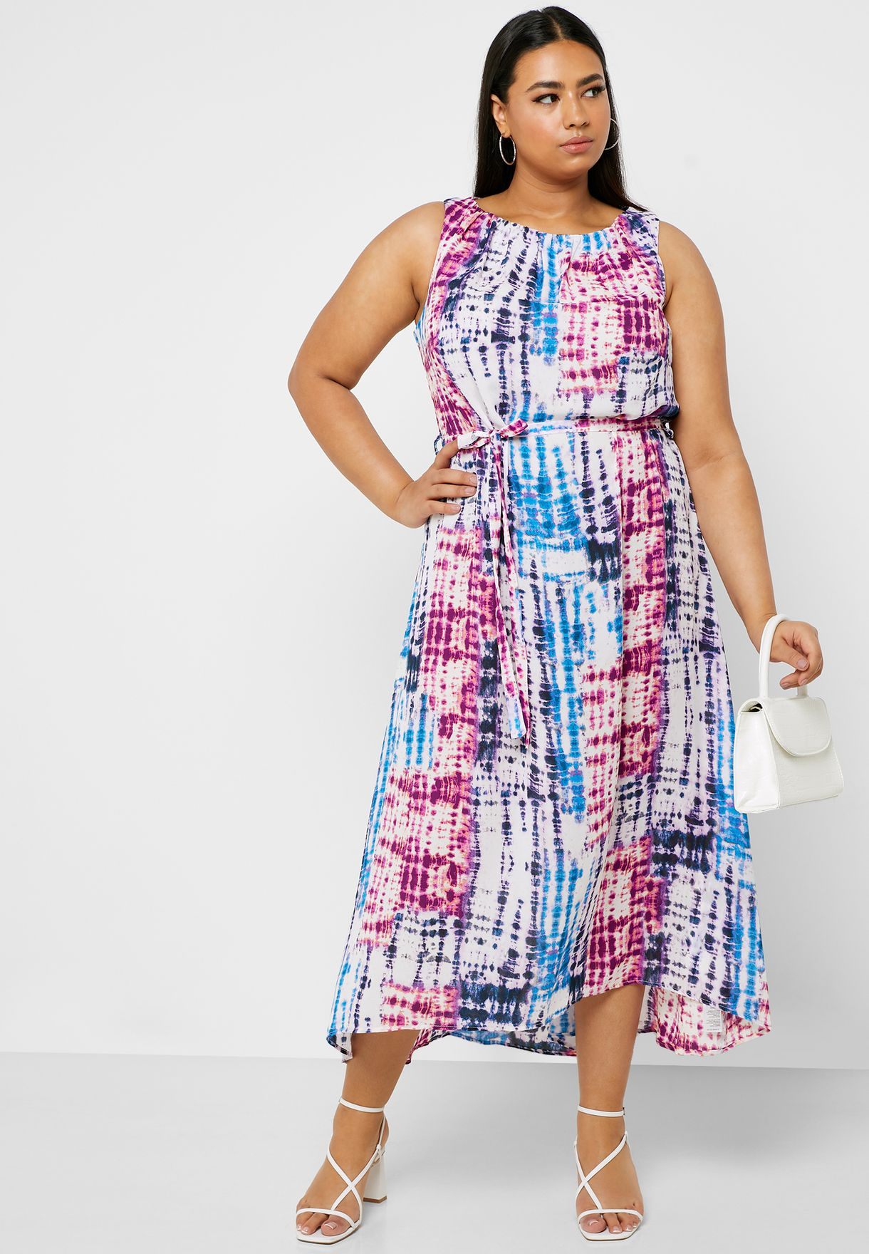Tie Dye Sleeveless Midi Dress