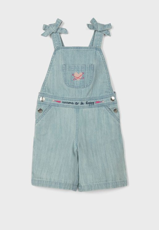 Kids Light Wash Dungaree