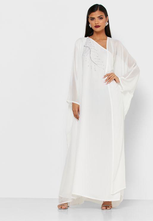 فستان مطرز بكتف واحد