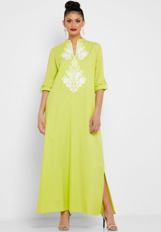 Embroidered Roll Sleeve Dress