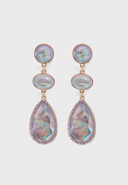 Iridescent Faux Gem & Rhinestone Drop Earrings