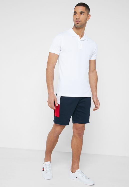Flag Rib Insert Sweat Shorts