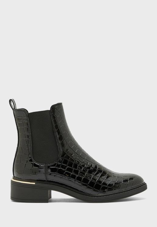 Croc And Padlock Detail Chelsea Boots